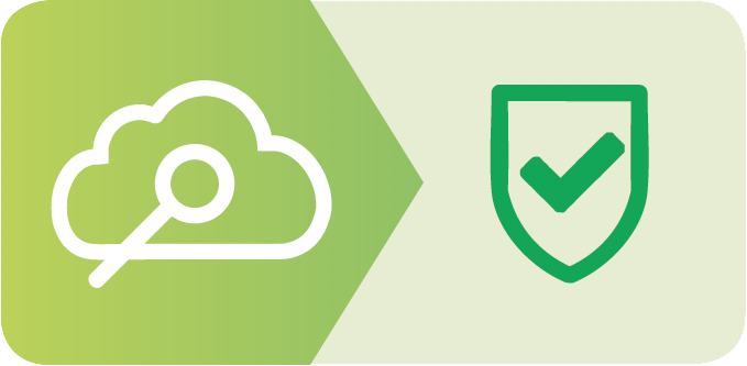 Magnifying Glass in a Cloud, Points to Green Check in a Shield