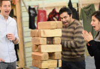 ForeFront Employees Enjoying a Game of Jenga at Event