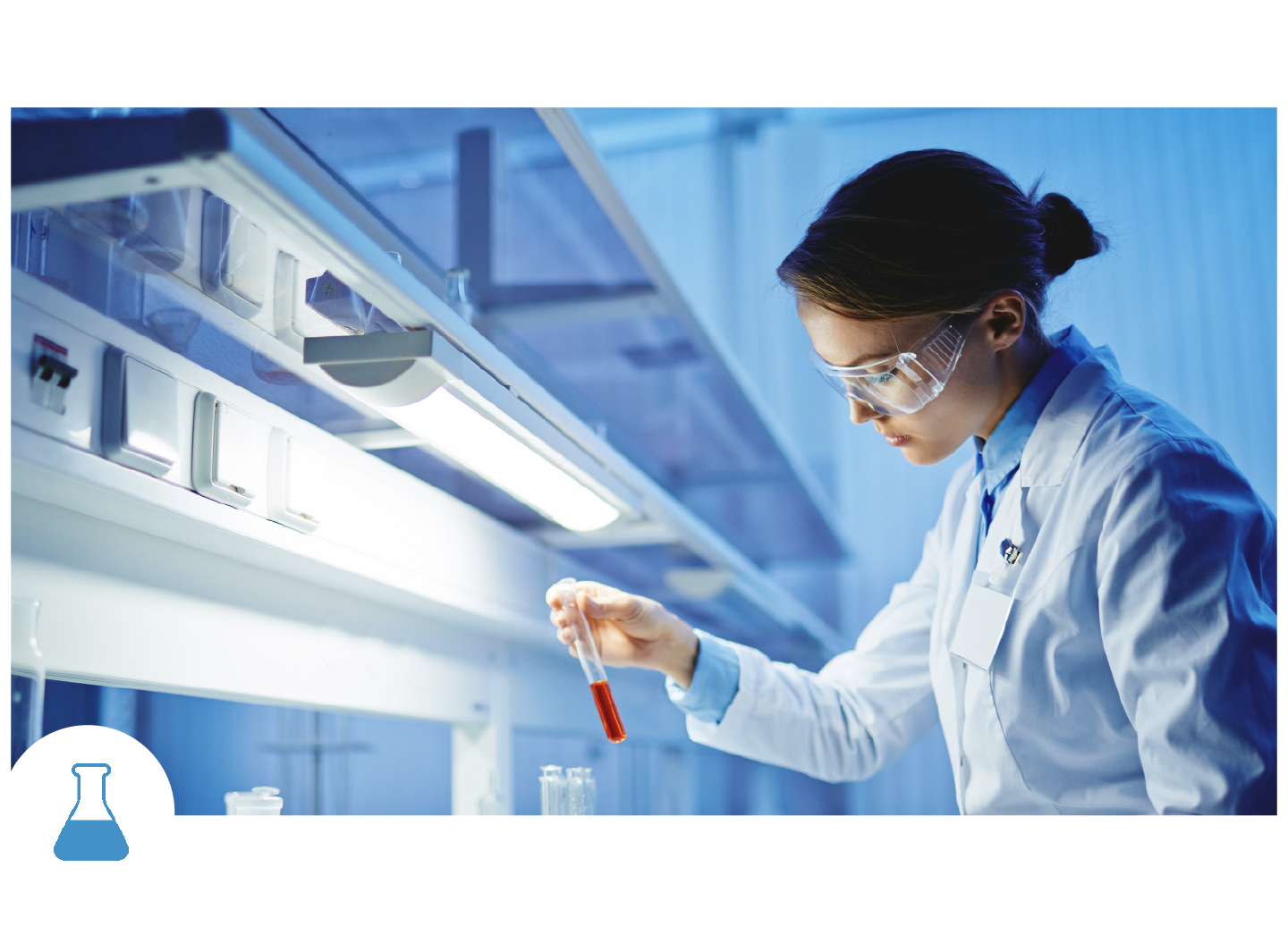Life Science Worker Holding Test Tube in Lab