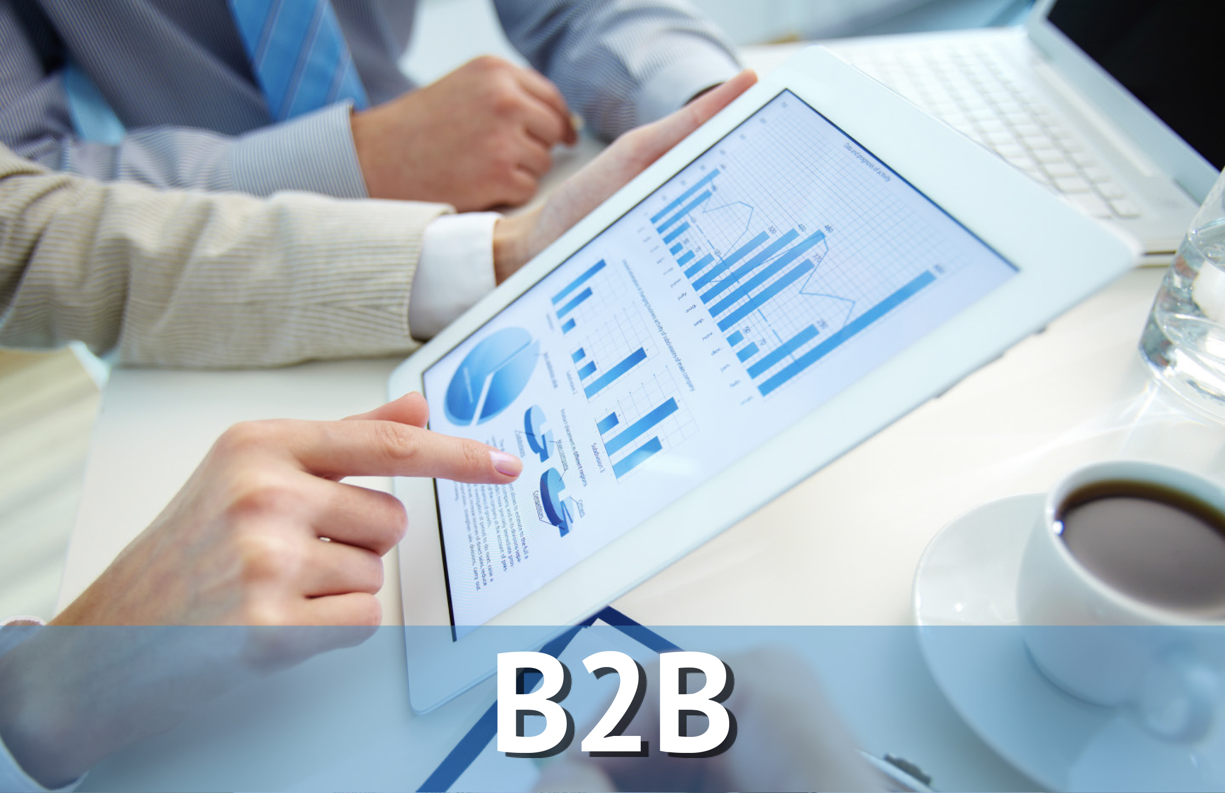 Hand Pointing to Graphs on Tablet Screen, Labeled B2B